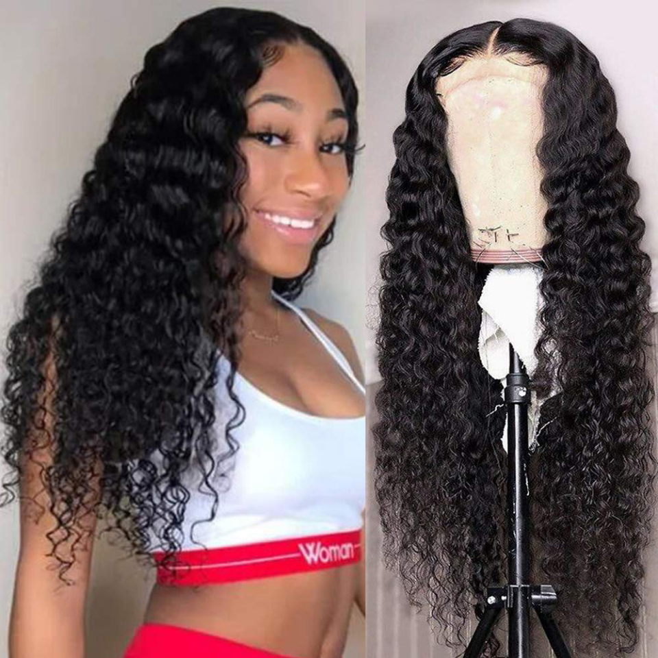 13X5 Lace Front Human Hair Wigs With Pre Plucked Hairline For Black Women Queenlike Remy Brazilian Deep Wave Lace Front Wigs