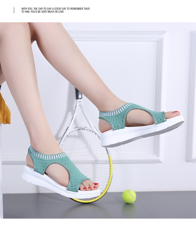 H0986ed3f1ee849f285733304740a4aact WDZKN 2019 Sandals Women Summer Shoes Peep Toe Casual Flat Sandals Ladies Breathable Air Mesh Women Platform Sandals Sandalias