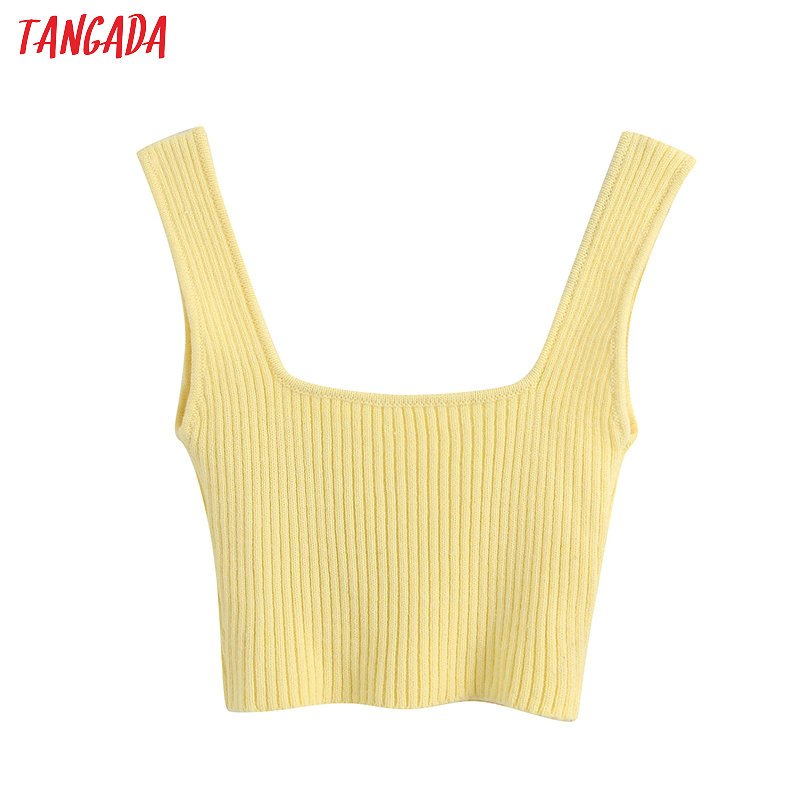 Tangada Women Sexy Yellow Knit Camis Top Spaghetti Strap Sleeveless Backless Short Shirts Female Casual Solid Tops BE563
