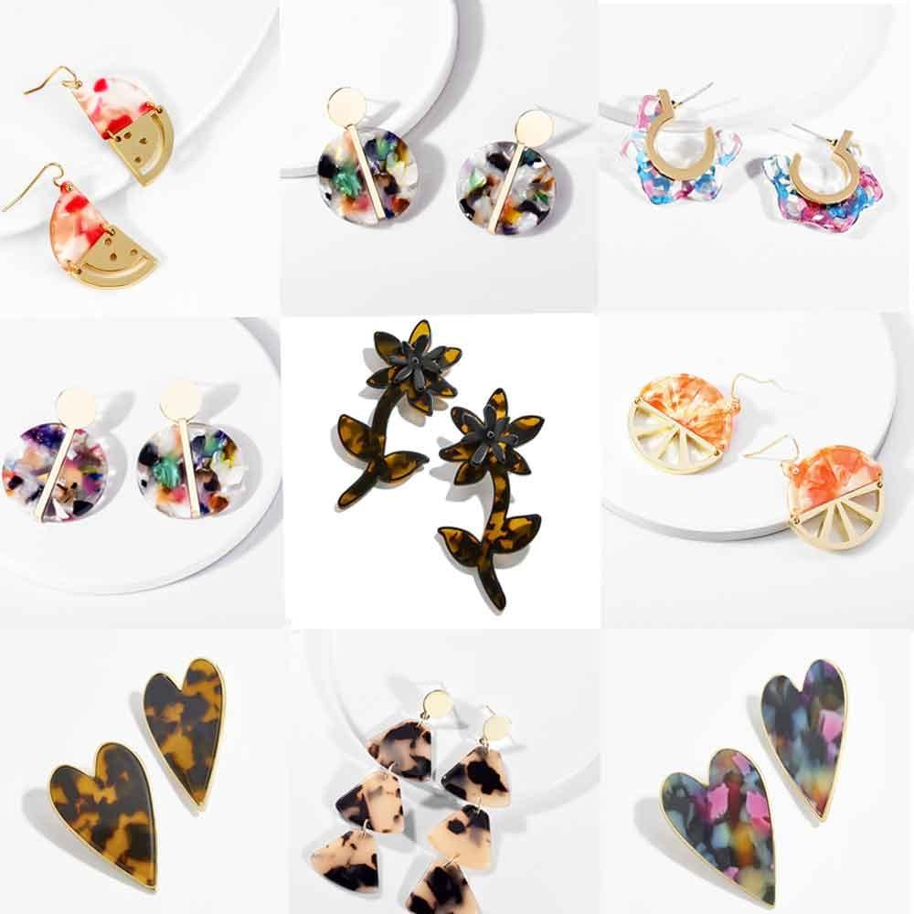 Best lady Resin Drop Earrings 2019 Double Eleven Newly Women Wedding Earrings Jewelry Boho Girl Gift Statement Earring Wholesale