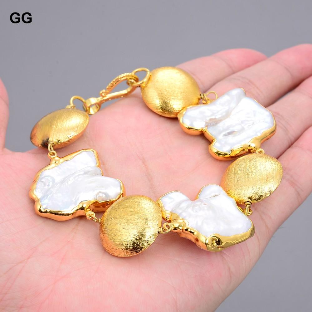 GG-pulsera de monedas chapada en oro amarillo para mujer, Perla Keshi Natural de agua dulce de 8 pulgadas, clásica