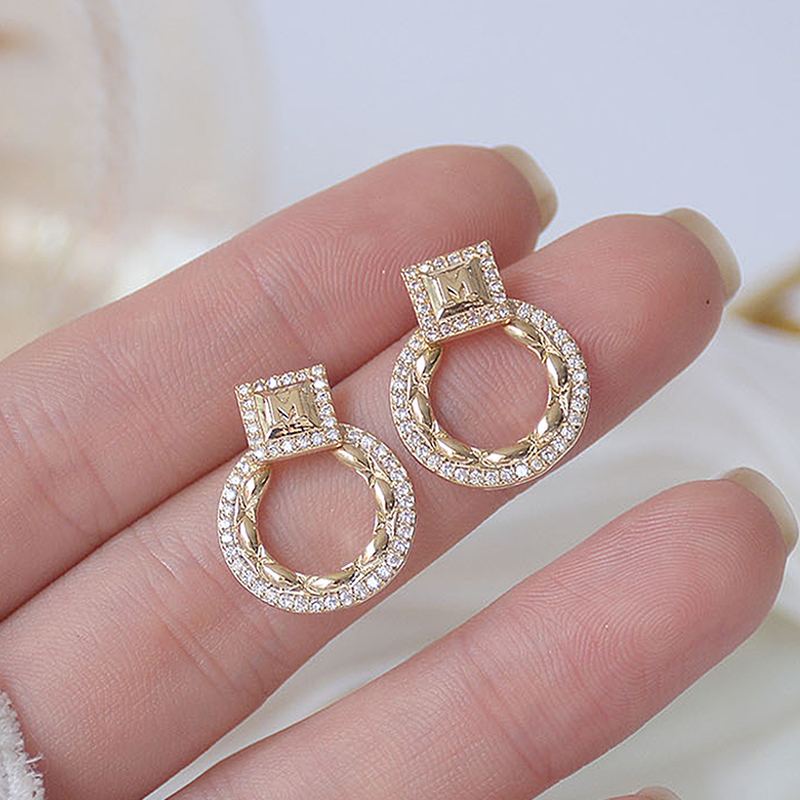 14k Real Gold Exquisite Circle CZ Women Earrings High Quality Charm Mircro Inlaid AAA Zirconia Stud Earring Birthday Gift