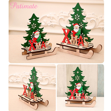 PATIAMTE Wooden Christmas Decorations Santa Claus/Elk/Snowman Ornaments Decoration For Home New Year