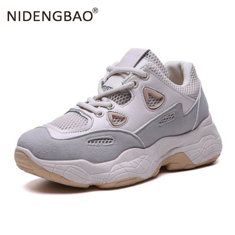 Women Shoes New Chunky Sneakers For Women Leather Breathable Sports Shoes Running Sneakers Ladies Pink Trainers Chaussure Femme in Running Shoes from Sports Entertainment