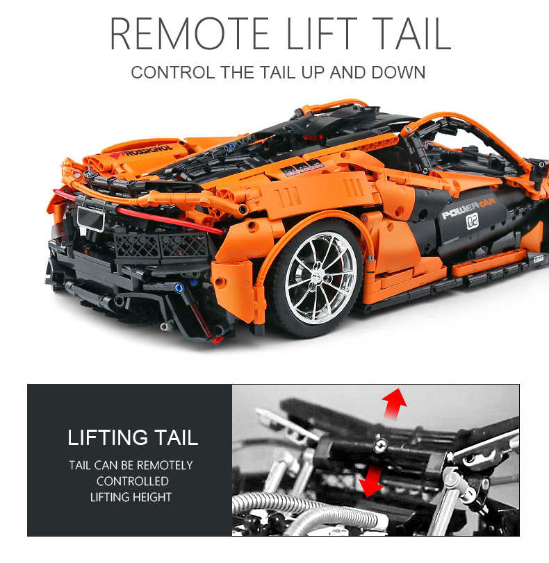 1 to 8 ratio 13090 Technic Series McLaren P1 Orange Racing Car Set APP RC Model Building Blocks Power Motor Function Toys 20087 34