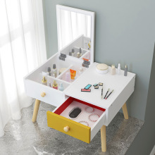 Modern Makeup Table with Mirror Manmade Board Solid Wood Leg Dressing Table MDF Creative Makeup Table Bedroom Furniture Dresser