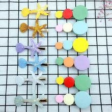 12 Pcs 6.5cm Mixed Color Included 6 Wood dot Hairpins And Acrylic Starfish Hair Clips For Girls Cute Accessories