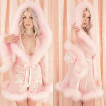 Short Women Sleepwear Lingerie Lace Fur Robe With Hat Long Sleeve Bathrobe Tulle Nightwear Babydoll Robe Dress(China)