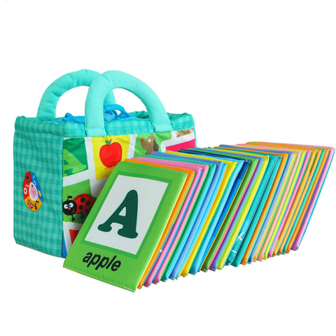 26 pcs macio alfabeto cartoes pano saco de armazenamento para criancas abcs aprendizagem alfabeto pano