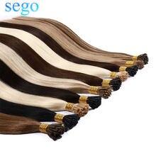 Sego 1 g/s em linha reta remy brasileiro do cabelo humano eu ponta extensões de cabelo queratina cápsula natural pré ligado fusão cabelo