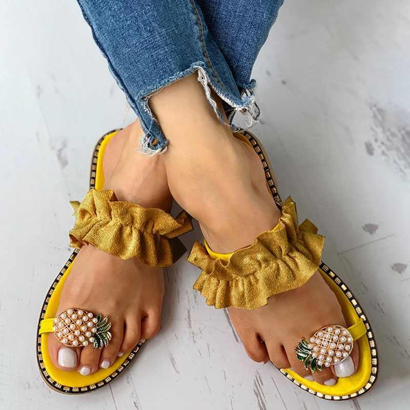 Damskie sandały letnie sandały na co dzień damskie płaskie Toe ananasowe perły czeskie obuwie płaskie plażowe sandały kapcie sandalia