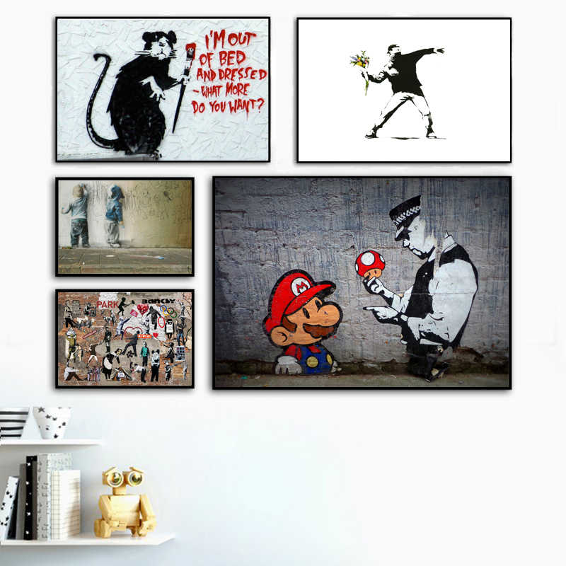 Banksy Movement On The Streets Graffiti Wall Art Canvas Painting HD Prints Super Mario Jesus Picture For Living Room Home Decor