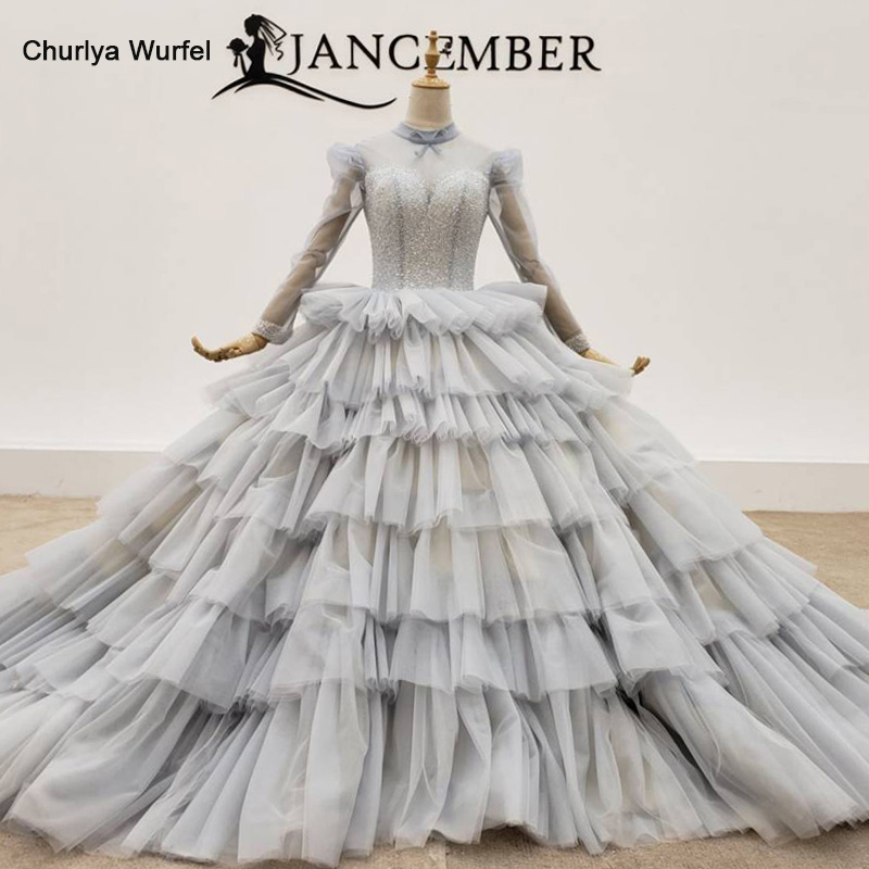 HTL1381 Gray Tiered Evening Dresses Top And Cuff With Transparent Bead Evening Gown Lace Up Evening Dress Plus Size Sukienki