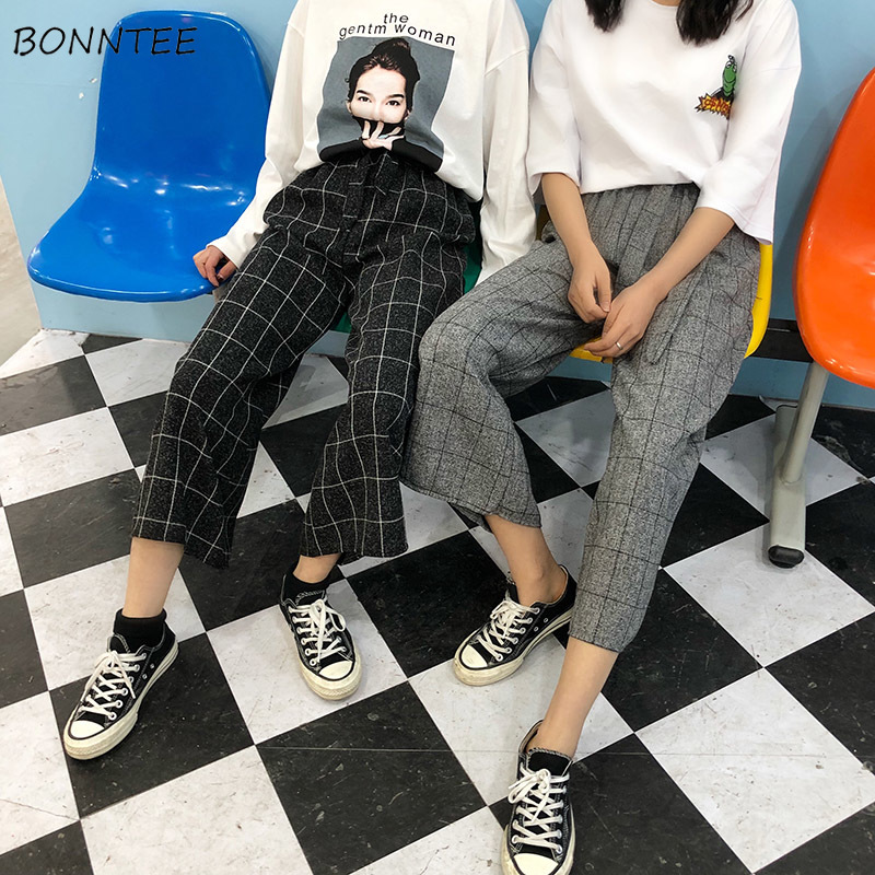 Pants Women Plaid Sashes Female Harajuku Straight Casual High Waist Students Loose Korean Version Womens Ankle-Length Trousers