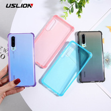 USLION Transparent Shockproof Candy Phone Case For Huawei P20 P30 Pro Lite Mate 20 TPU Silicone Back Cover Soft Clear