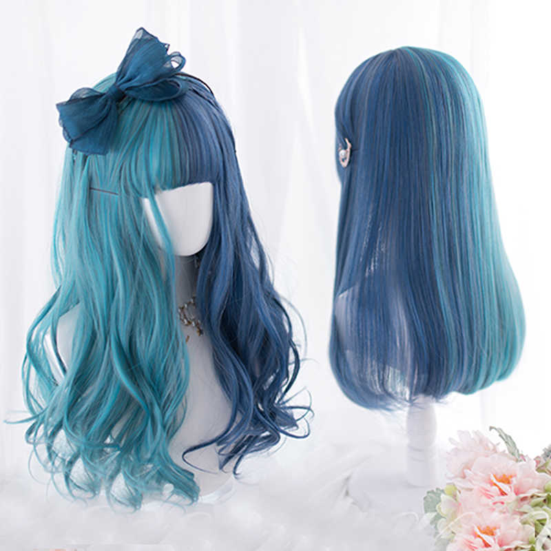 Cosplaysalon 65CM Long Curly Wavy Mixed Blue Ombre Bangs Cute Party Synthetic Hair Cosplay Wig+Cap
