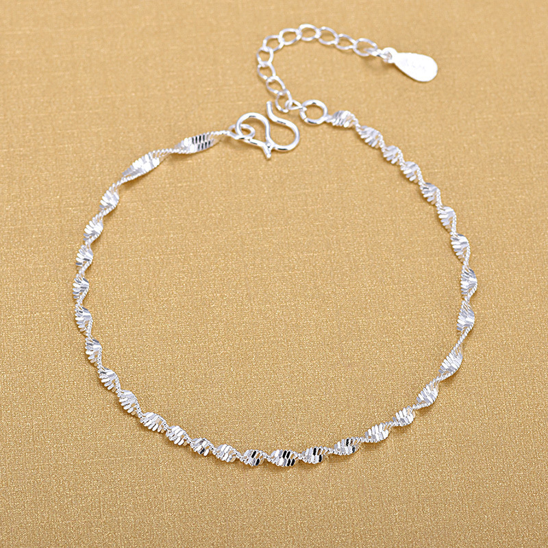 925 Sterling Silver Fashion Simple Elegant Twisted Chain Bracelets Jewelry For Woman Wave Anklet Gifts 2020