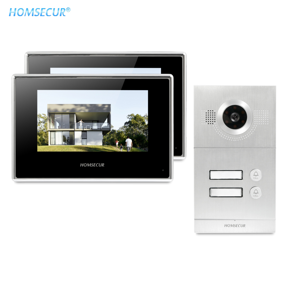 HOMSECUR 7inch Video Door Entry Security Intercom+Silver Camera For Secure Home BC121-2S+BM718-B