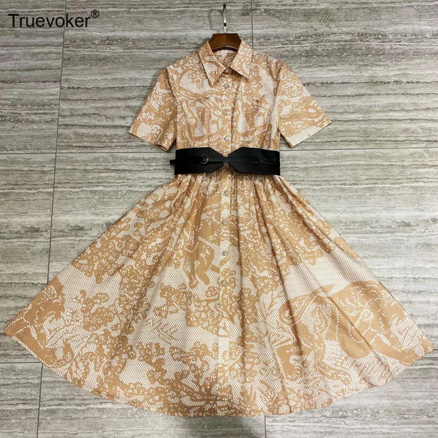 Truevoker été piste mode 100% coton Vocation robe dame col de chemise Vintage Animal imprimé ceinturé décontracté femmes Vestido