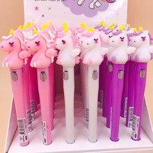1 Pcs Cartoon Kawaii Pink Horse LED Light Pens Korean Silicone Gel Pen Novelty Writing Stationery Canetas School Office Supplies