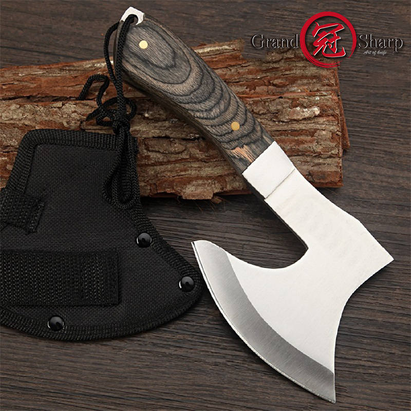 Survival Hunting Tomahawk Axes Hatchet Camping Hand Fire Stainless Steel Axe Boning Knife for Chopping Meat Bones GRANDSHARP image