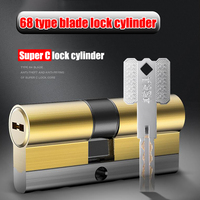 Super C class 8 keys cylinder Anti theft core of the door lock Universal copper plated chrome customized cylinders Copper key|Lock Cylinders|Home Improvement -