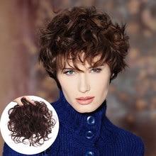 Pinza de pelo falso en tupé extensiones de cabello de Color Natural rizado con cierre superior, horquillas, postizos sintéticos MUMUPI