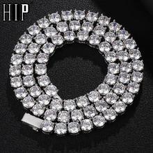 HIP HOP 3/4/5/6MM Bling Iced Out miedź cyrkon łańcuch tenisowy urok naszyjnik na łańcuszku z długimi ogniwami dla mężczyzn biżuteria