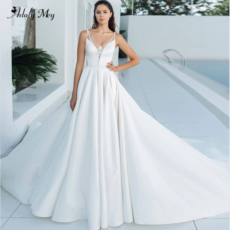 Adoly Mey Gorgeous Satin Royal Train A-Line Wedding Dresses 2020 Luxury Appliques Spaghetti Straps Beaded Princess Bridal Gown
