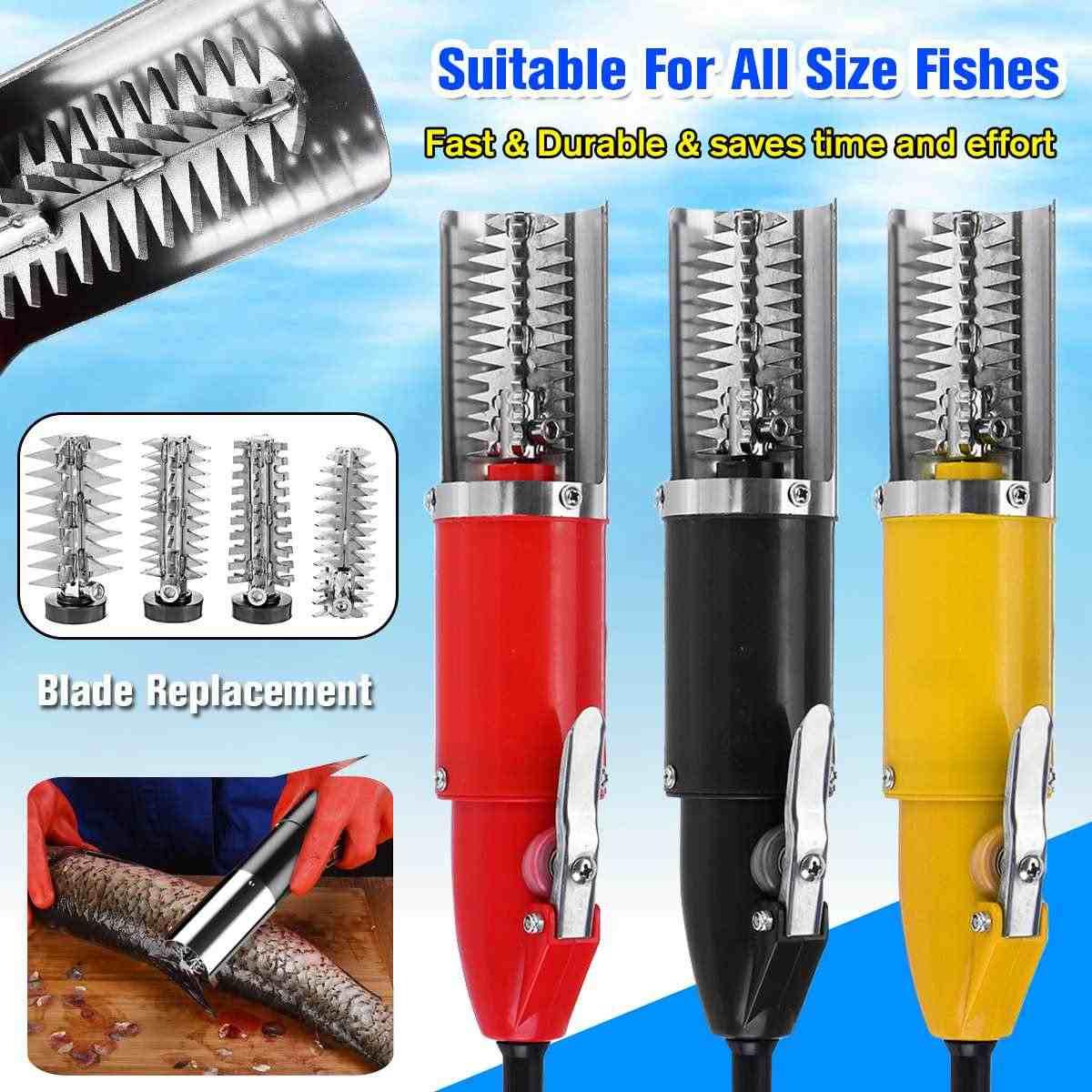 120W Impermeabile Elettrica Pesce Bilancia Raschietto Pesca Bilancia Rs Facile da Pulire Pesce Stripper Remover Cleaner Strumento Adattatore di Ricarica