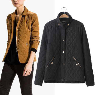 Western Style 2016 Autumn And Winter New Style Rhombus Quilted Phase Leather Small Cotton-padded Clothes Fold-down Collar Slim F