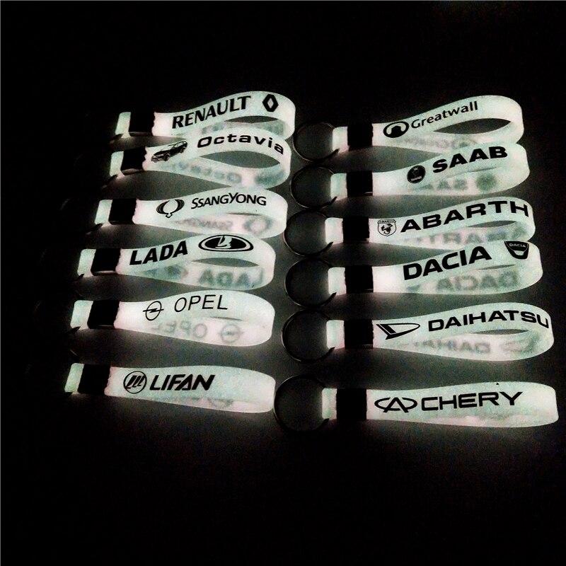 Etiqueta engomada luminosa del llavero del coche para Mercedes FORD Focus fiat Abarth Renault opel Nissan Daewoo accesorios de automóviles Toyota motocicleta