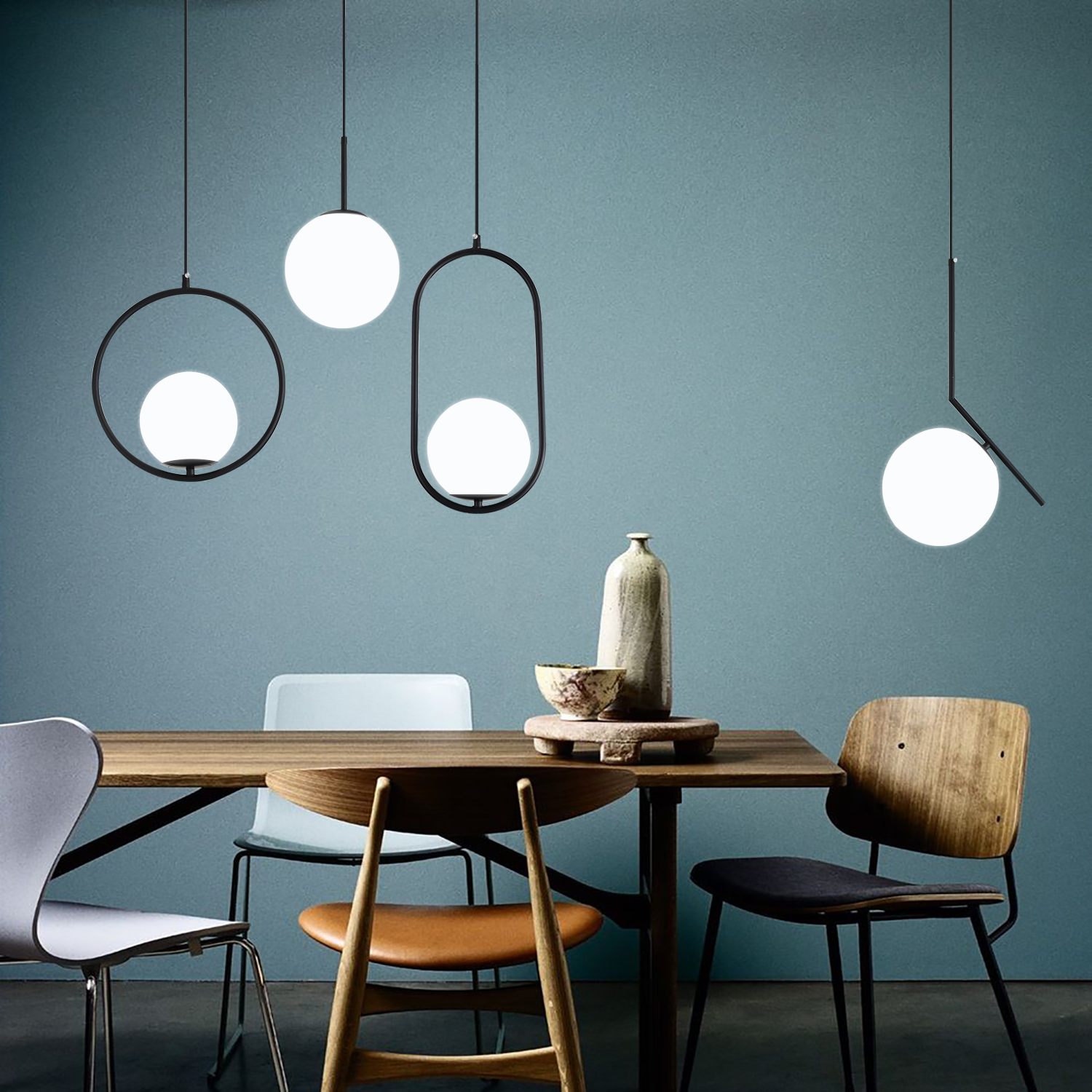 Nordic Glass Ball Pendant Lights Modern LED Hanging Lamp For Living Room Brass/Black/Chrome Pendant Lamp