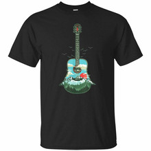 Beautiful Acoustic Guitar Mountains, Forest & Nature Graphic T-Shirt Black S-2Xl Streetwear Funny Tee Shirt(China)