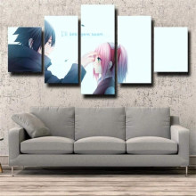 5 Piece Wall Art Canvas Anime Manga Posters Ninja Figure Sakura & Sasuke Pictures And Prints Home Bedroom Decoration Paintings