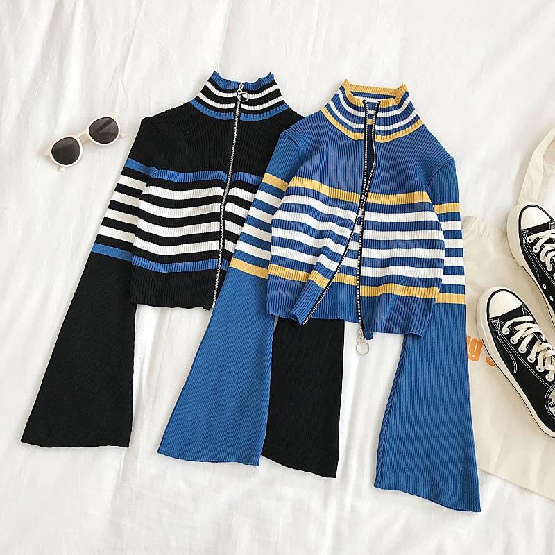 Gola alta de malha feminina outono blusas vintage alargamento manga longa listrado fino pullovers frente zíper jumper pull femme topos