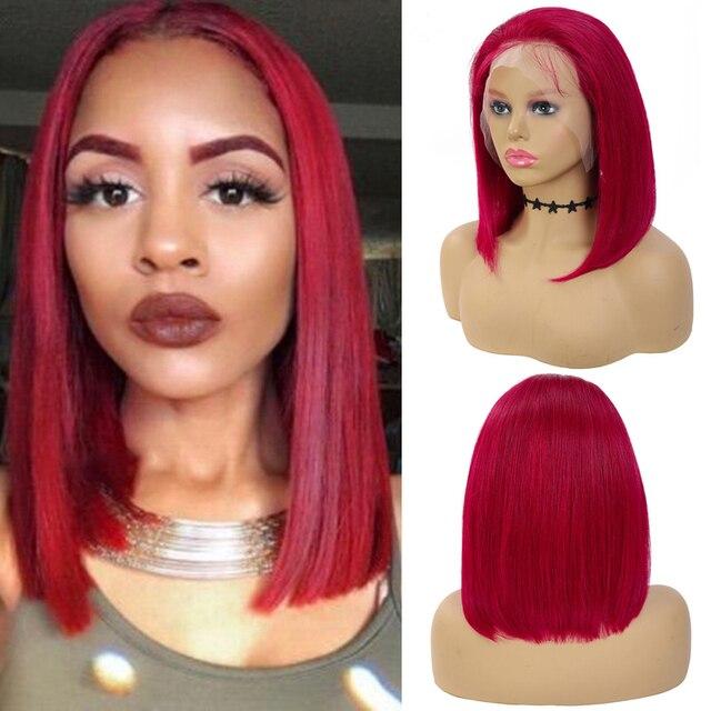 99J/bordo kısa Bob İnsan saç peruk 13x4 dantel ön peruk ön koparıp brezilyalı düz dantel ön peruk kadınlar için Remy 150%