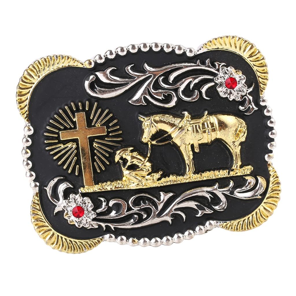 Vintage Western Cowboy Leather Belt Buckle Metal Knight Pattern Mens Gift Square пряжка для ремня Luxurious Gold Belt Buckle
