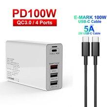 Адаптер питания с 4 портами USB C PD 100 Вт, быстрое зарядное устройство типа C для Macbook Pro QC 3,0, станция быстрой зарядки для iPhone, Настольные зарядные...