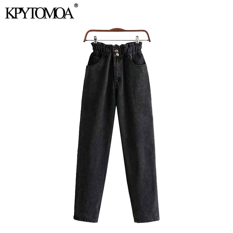 Vintage Stylish Pockets High Waisted Denim Pants Women Jeans 2020 Fashion Zipper Fly Elastic Waist Ankle Trousers Pantalones