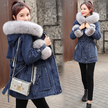Warm Coat Outerwear Jean Lamb Denim Jacket Women Hooded Cashmere Thick Casual New Korean