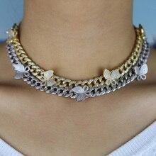 Glacé bling cz Miami lien cubain chaîne papillon collier ras de cou breloque hip hop femmes bijoux