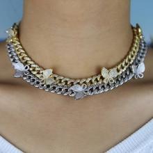 Iced out bling cz Miami kubański łańcuszek z łańcuszkiem motyl naszyjnik typu choker z charmsami hip hopowa biżuteria damska