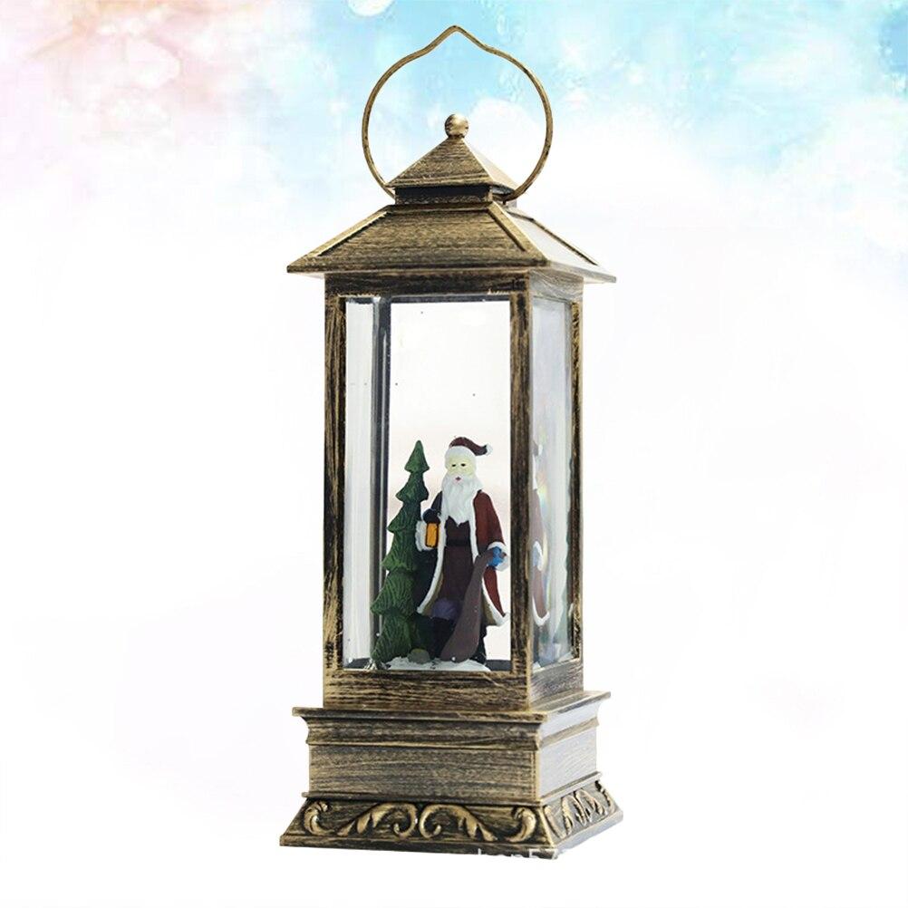 1 pc pendurado lanterna incandescente de vidro retangular luz natal neve lanterna lâmpada pendurada para decoração do festival - 2