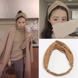 MENGJIQIAO New Knot Cross Knitted Tie Solid Tie Headband Turban Hairband for Women Sport Seaside Girls Velvet Twist Headwrap