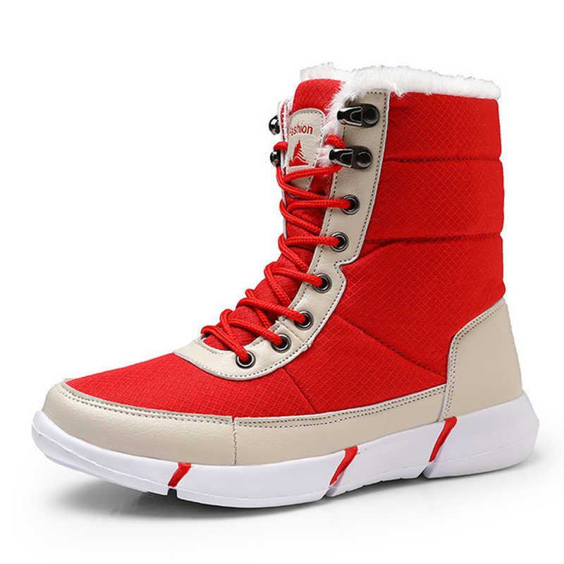 NAUSK kadın botları kaymaz su geçirmez kış ayak bileği kar botları kadın platformu kış ayakkabı ile kalın kürk Botas Mujer