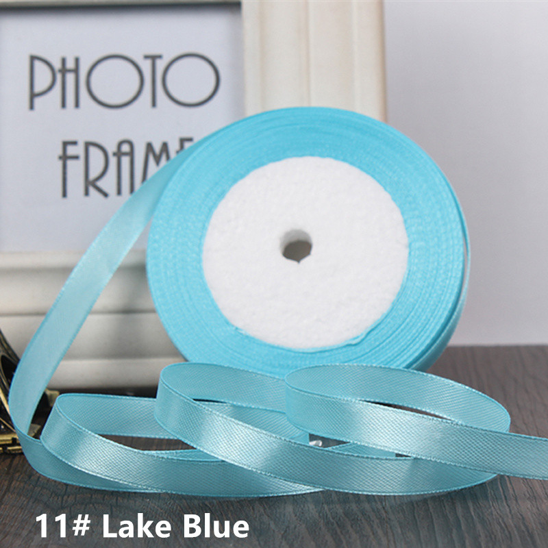 25 ярдов/рулон 6 мм 10 мм 15 мм 20 мм 25 мм 40 мм 50 мм шелковые атласные ленты для рукоделия бант ручной работы подарочная упаковка вечерние свадебные декоративные - Цвет: 11 Lake blue