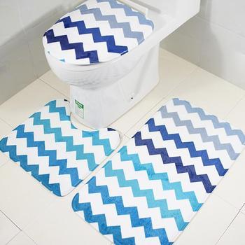 3pcs/set Wave Pattern Flannel Fabric Toilet Seat Cover Stripe Style Toilet Case Bathroom Door Non-slip Mat Home Decoration ZT395