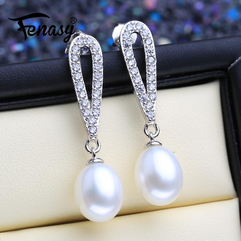 FENASY 925 Sterling Silver Earrings Natural Freshwater Pearl Earrings For Women Evening Party Wedding Classic Drop Earrings
