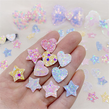 100Pcs/Lot 1.5CM Glitter Star And Heart Padded Appliques For DIY Children Hair Clip Accessories Hat Clothes Patches